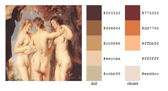 Палитра цветов с картин Рубенса 14