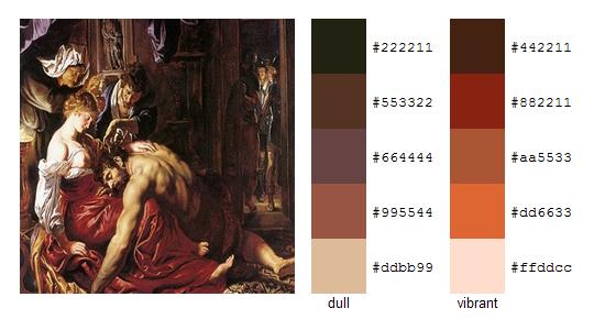 Палитра цветов с картин Рубенса 18