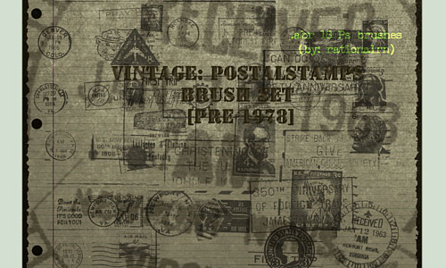 Скачать Vintage Postage Stamps Brushes