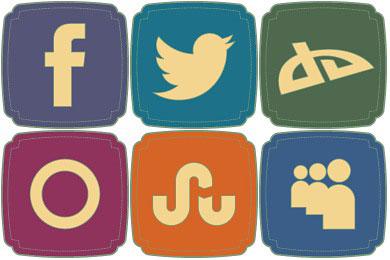 Скачать Free Retro Style Social Icons