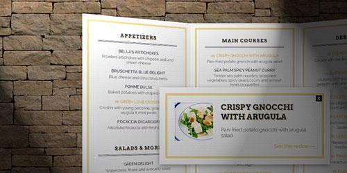 Перейти на Открывающееся ресторанное меню