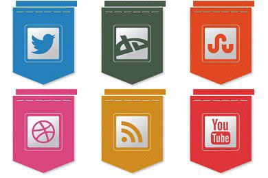 Скачать Free Ribbon Social Icons