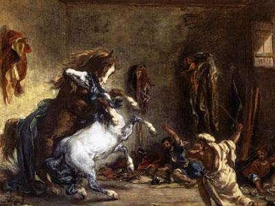 Борьба арабских лошадей в конюшне