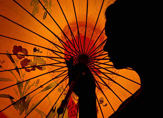 Silhouette Woman Orange Parasol