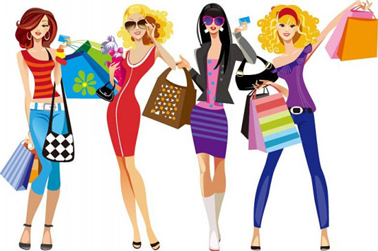 Скачать Shopping Girls Vector Illustration