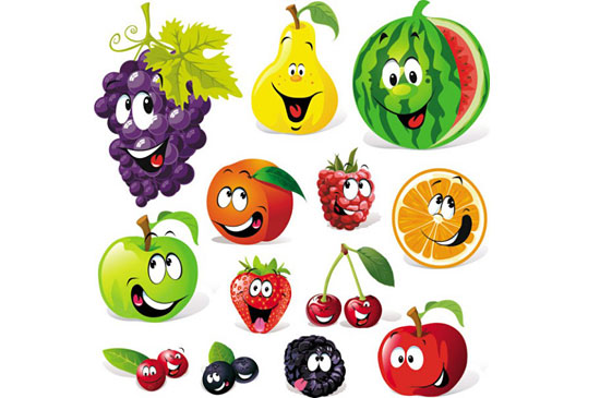 Скачать Cartoon Fruit Expression Vector