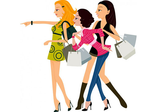 Скачать Fashion Shopping Women Vector Material