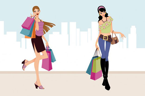 Скачать Fashion Shopping Girls Vector Art