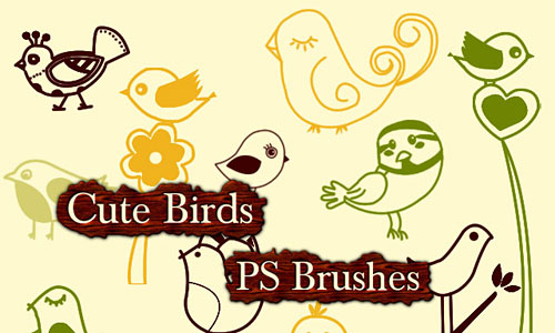 Скачать Cute Birds Photoshop Brushes