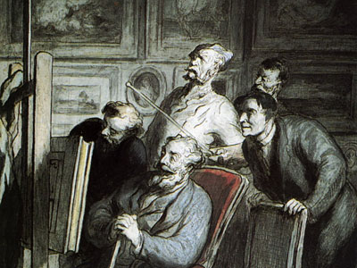 Визитёры в мастерской художника