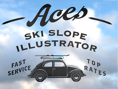 Aces Ski Slope Illustrator by David Cran
