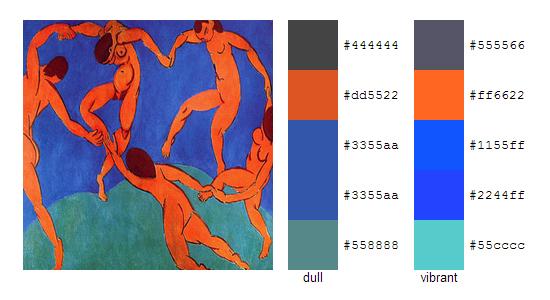 Палитра цветов с картин Анри Матисса 2