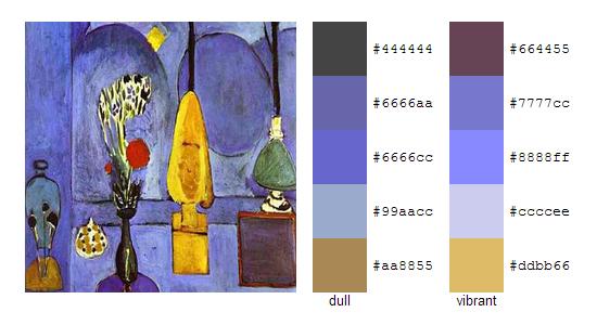 Палитра цветов с картин Анри Матисса 9