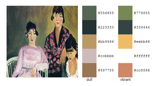 Палитра цветов с картин Анри Матисса 15