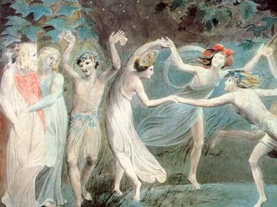 Перейти на Оберон, Титания и Пак с танцующими феями