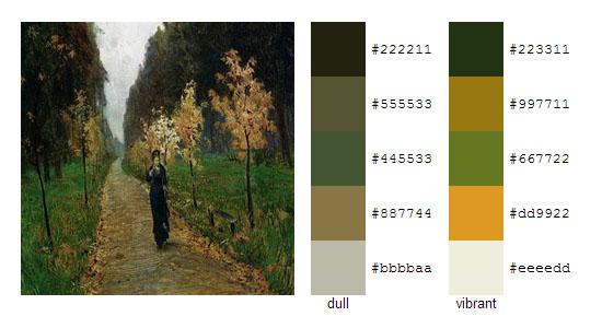 Палитра цветов с картин Исаака Левитана 1