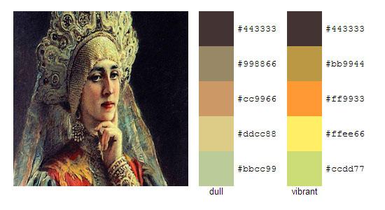 Палитра цветов с картин Константина Маковского 18