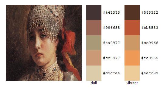 Палитра цветов с картин Константина Маковского 19
