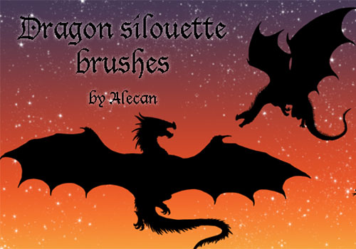 Скачать Dragon silouette brush set