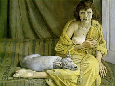 Перейти на Девушка с белым псом