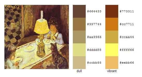 Палитра цветов с картин Пьера Боннара 9