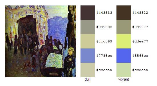 Палитра цветов с картин Пьера Боннара 12