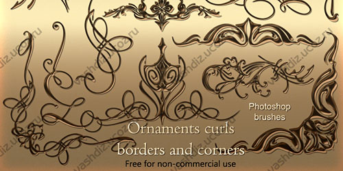 Перейти на Ornaments curls photoshop brushes