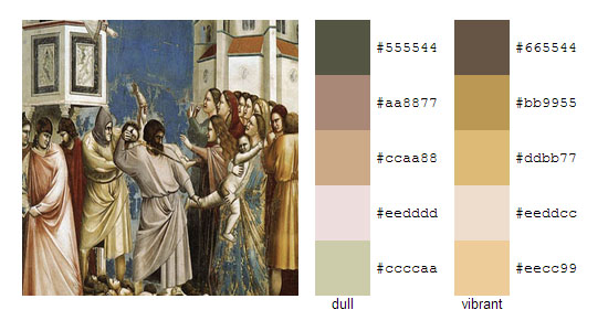 Палитра цветов с картин художника Джотто 8