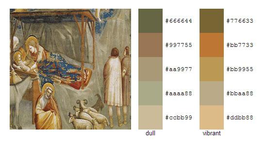 Палитра цветов с картин художника Джотто 9