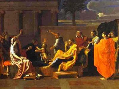 Перейти на Младенец Моисей попирает корону фараона