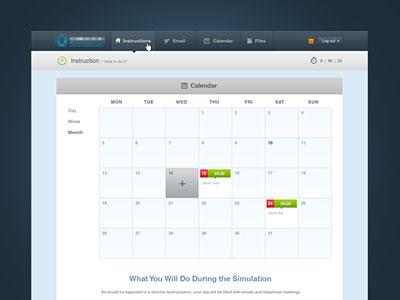 Interface calendar working process