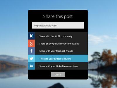 KILTR UI social media share dialogue