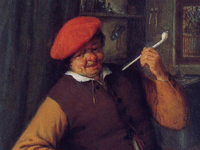 Перейти на A Peasant In A Red Beret Smoking A Pipe