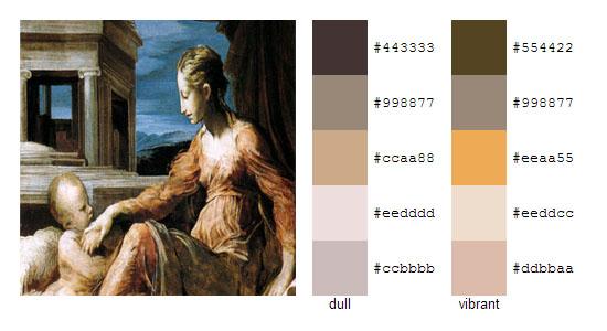 Палитра цветов с картин художника Джорджо Вазари 5