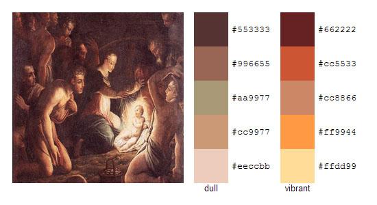 Палитра цветов с картин художника Джорджо Вазари 11