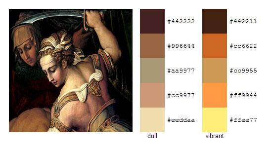Палитра цветов с картин художника Джорджо Вазари 13
