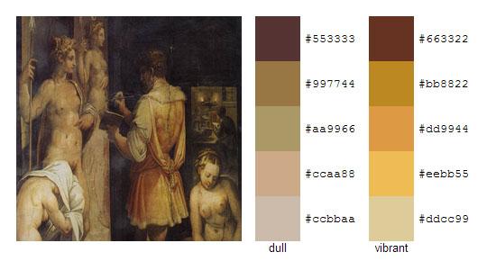Палитра цветов с картин художника Джорджо Вазари 16