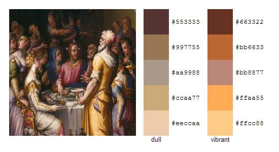 Палитра цветов с картин художника Джорджо Вазари 17