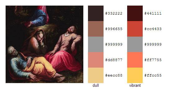 Палитра цветов с картин художника Джорджо Вазари 19
