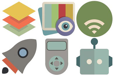 Перейти на Flat Retro Modern 2 Icons by Grafikartes (24 icons)